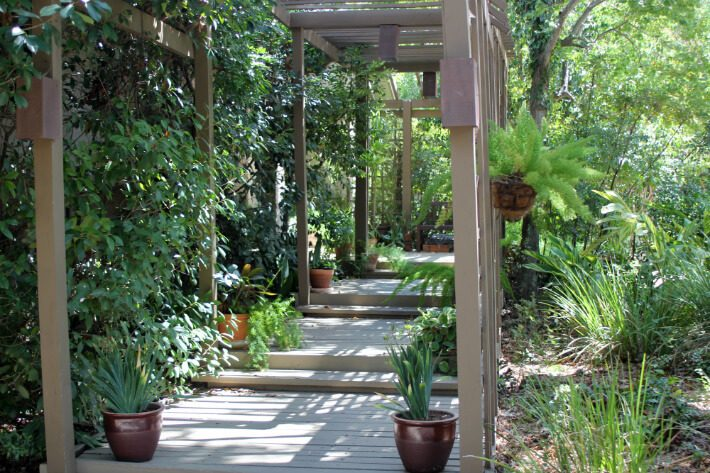 walkway with trellises on both sides and overhead