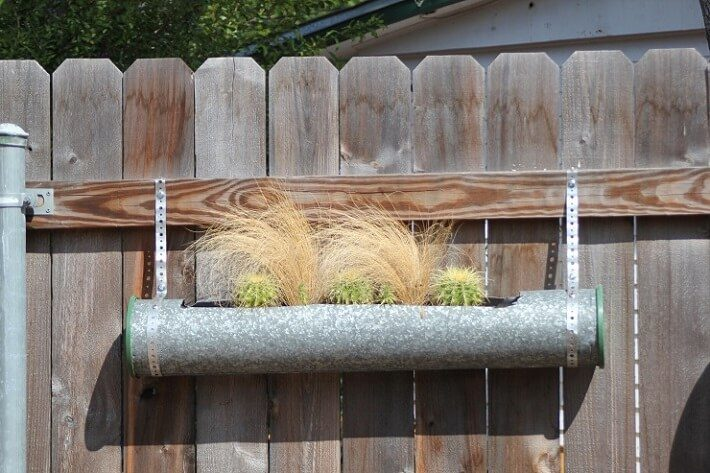 recycling pipe, duct planter for succulents | SAWS Garden Style Conservation Water Saver San Antonio Texas