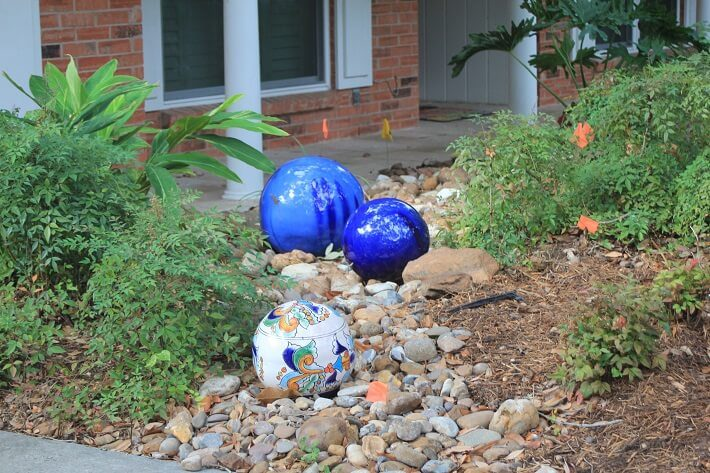 front yard decoration with gazing balls | SAWS Garden Style Conservation Water Saver San Antonio Texas