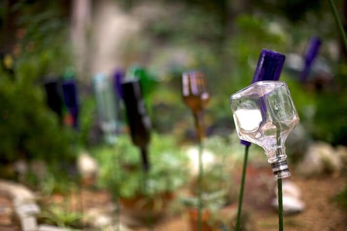 glass bottles landscape art