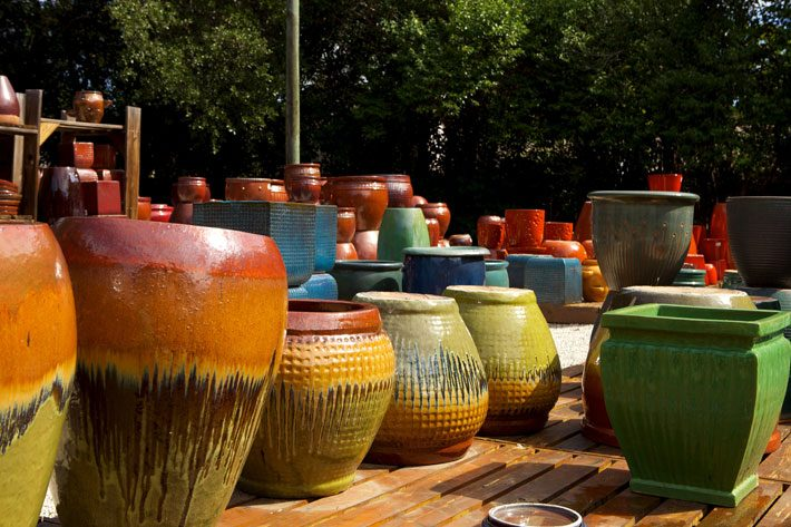 Big colorful planter pots