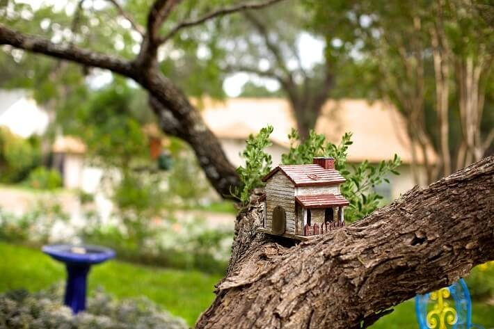 tiny tree house perched on branches | SAWS Garden Style Conservation Water Saver San Antonio Texas