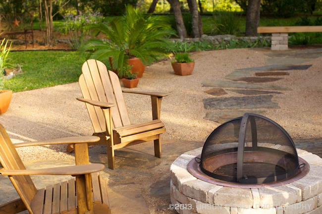 crushed granite with firepit backyard